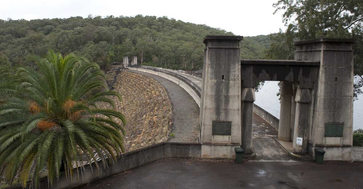 stone gateway and dam wall