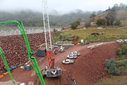 Chaffey Dam work site and wall