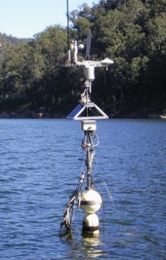 A tower of monitoring equipment in a dam