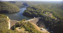 Aerial of dam and spillway