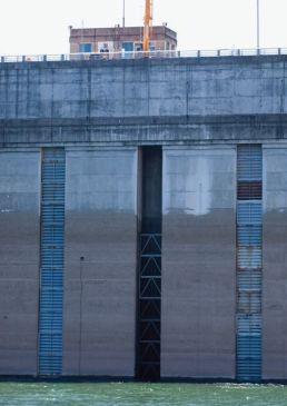 the inside of a dam wall