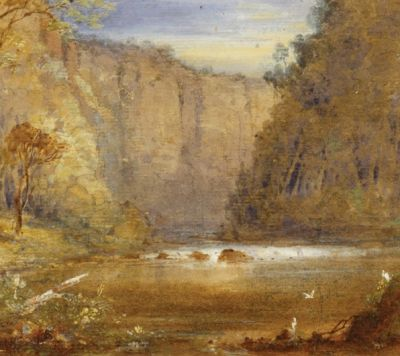 Old painting of a canyon