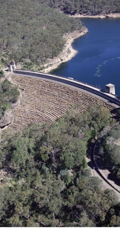 an aerial view of avon dam