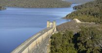 dam wall with spillway at end