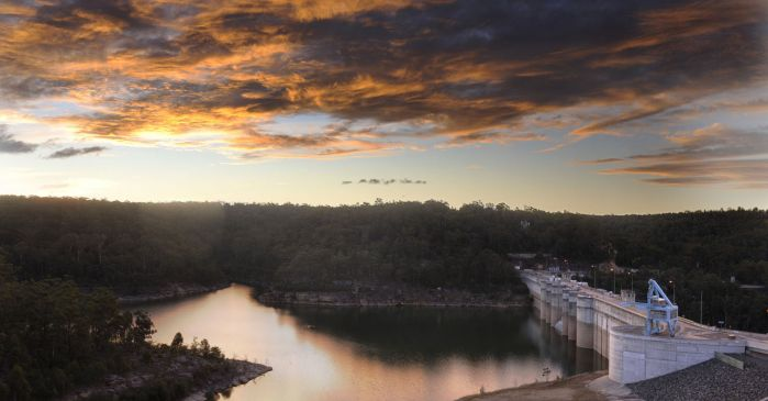 Sunset over Warragamba Dam
