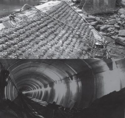 images showing construction of the dam