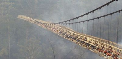 a smouldering suspension bridge