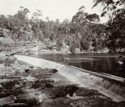 old photograph of the Broughtons Pass Weir