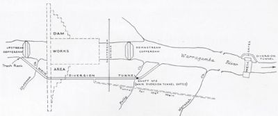 a map of the construction site of Warragamba Dam