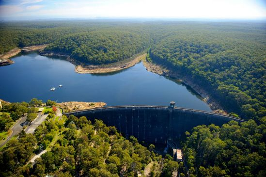 woronora dam from the air
