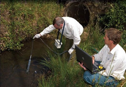 two men using equipment to test water in a stormwater drain