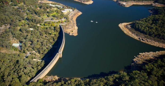 aerial view of dam wall