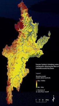 Catchment area map showing the flow of rainfall into the dams