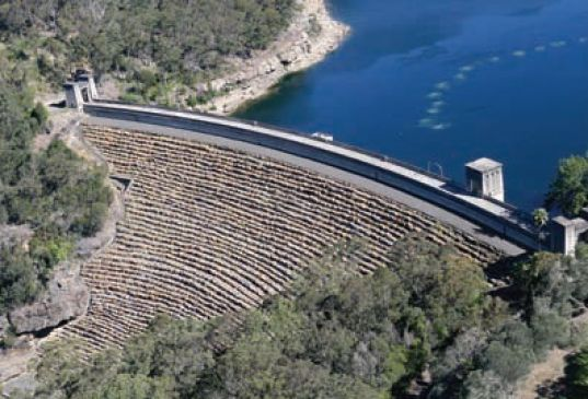 aerial view of avon dam