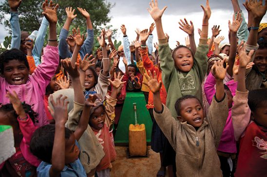 Children celbrating in Madagascar