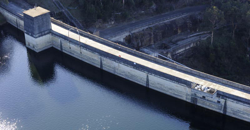 curving dam wall